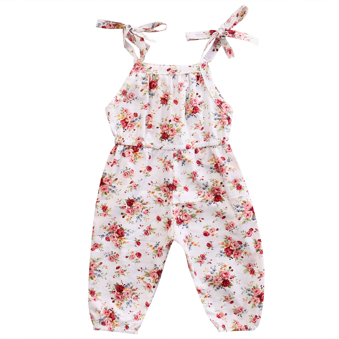 Lovely Floral Strap Romper Clothes Infant Kids Girls Summer Sleeveless Romper Jumpsuit Outfits Sunsuit Cotton Clothing White