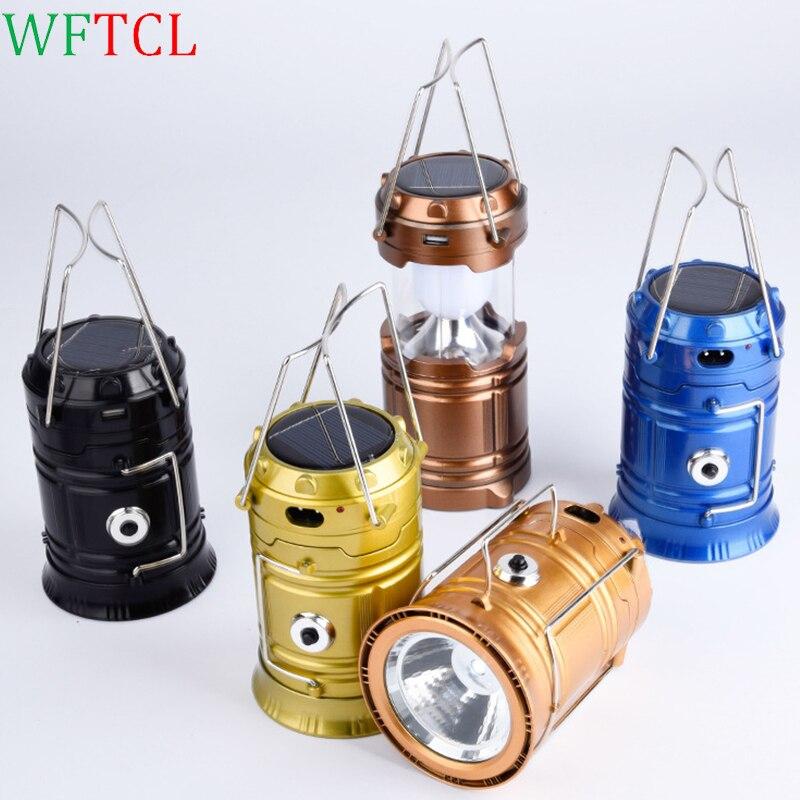 WFTCL LED Portable Lanterns Camping Lantern Flashlights Collapsible Solar Lanterns Camp Lights Lamp for Outdoor, Fishing, Hiking