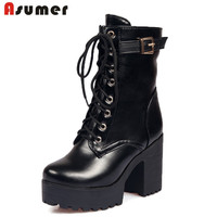Plus Size 34 45 Thick High Heels Platform Ankle Boots 2015 New Women Boots Fashion Lace