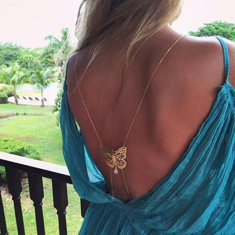 New Design BodyChains Long Gold necklace Bodychain Bare Back Butterfly Pearl Pendant Waist Belly Sexy Chain Body Jewelry Collier