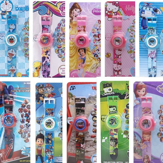 Children's Cartoon Watch 20 Projection Pattern Digital Child Watches Boys Girls