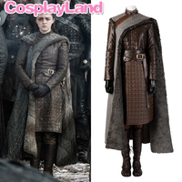 Arya Stark Cosplay Costume Halloween Outfit Custom made Women Costumes Game of Thrones Season 8 Winterfell Stark Suit Boots Coat