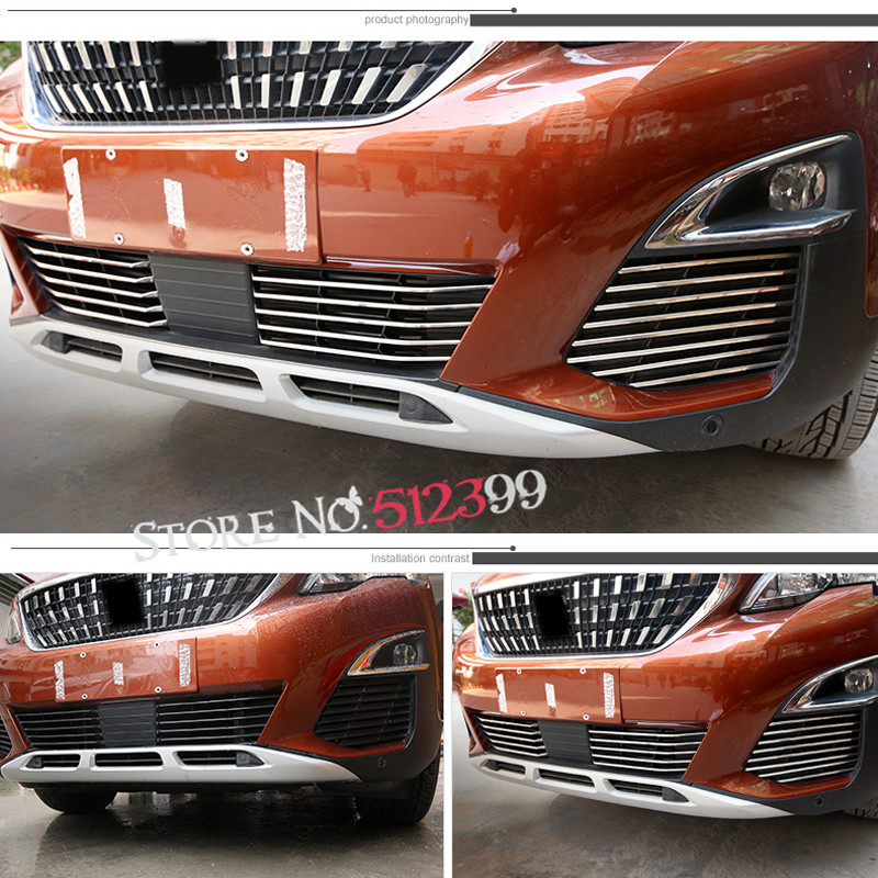 For Peugeot 5008 GT 2017 2018 Stainless Steel Front Grille Grills Decoration Strips Trim 26pcs set
