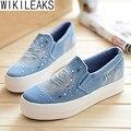 Wikileaks 2016 Весна Холст Обувь Женская Платформа Мокасины Студенты Повседневная Женская Обувь Мокасины Повседневная Обувь Комфортного Отдыха