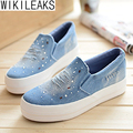 Wikileaks 2016 Spring Canvas Shoes Female Platform Loafers Students Casual Women Shoes  Loafers Casual Shoes Comfortable Leisure