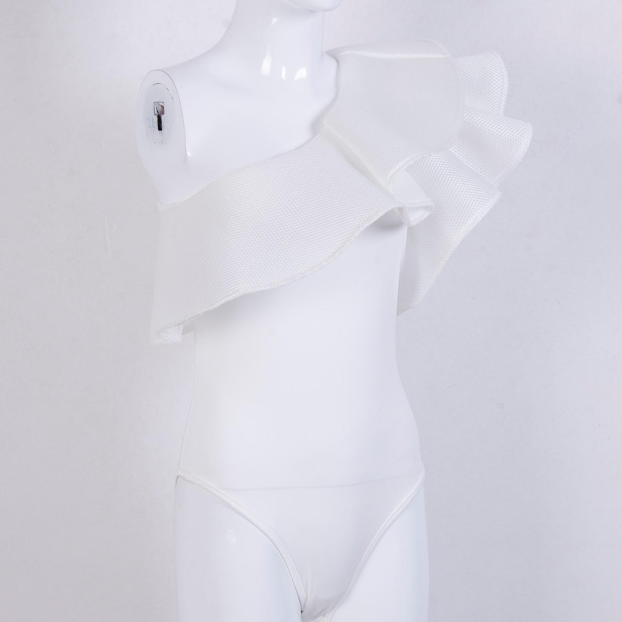 Women Sexy One Shoulder Ruffled Bodysuit Leotard Tops Romper Mesh Bodysuits-in  Bodysuits from Women s Clothing on Aliexpress.com  1f4d11931