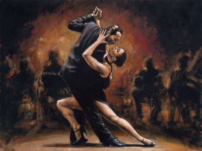 Figure Oil Painting Modern art Couple tango dancers Handmade wall decoration picture High quality
