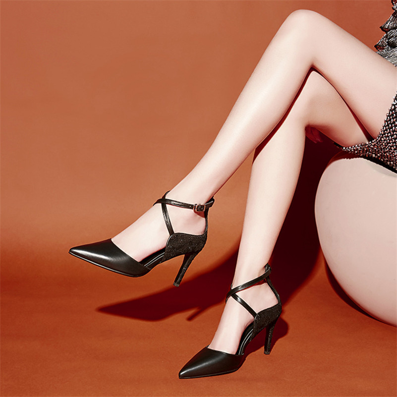 Moda Negro Verano Zapatos Del Pie Genuino Dedo Fiesta Las Básicos Mujer rosy Mujeres Puntiagudo Sandalias Red Conasco 2019 Bombas Nueva Cuero Solo De Hebilla Sexy 5qwU0BpxO
