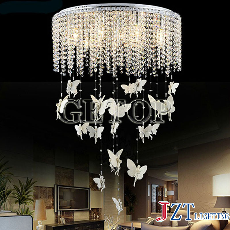 J Best price new Fashion k9 crystal lamp crystal Led droplight sitting room dining room droplight angel crystal bedroom light dining room study ceiling light lamp lighting bedroom hotel e27 droplight free shipping 3 heads cage design k9 crystal