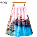 Venice Printed Satin Skirt 2015 Vintage Ball Gown Pleated High Waist Midi Flared Ladies Knee Length Long Skirts womens