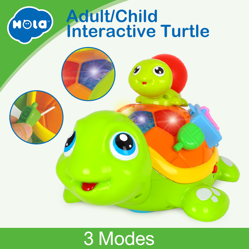HOLA 868 Parent-Child Tortoise Interactive B/O Electric Animal Puzzle Turtle Toddler Crawling Baby Toys for 6M