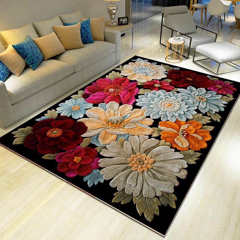 3D Flower Carpets Hallway Doormat Bedroom Living Room Ocean Rugs Kids Room Kitchen Stairs Carpet Anti-skid Hotel Corridor Mats