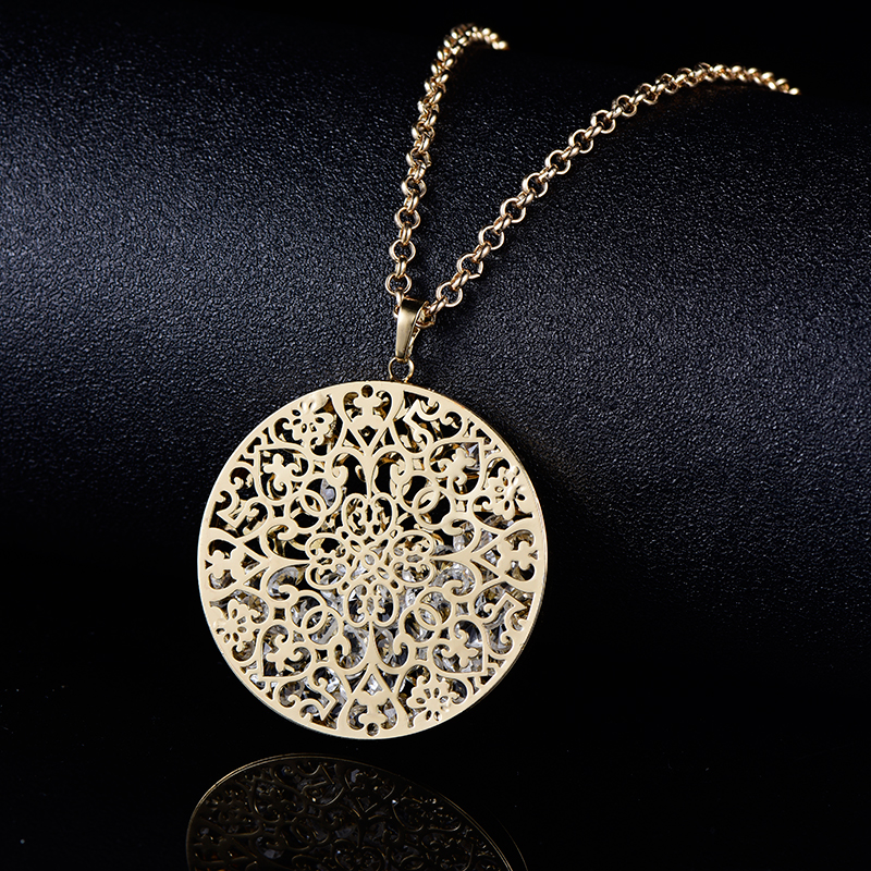 2019 Women's Necklaces Crystal In Hollow Flower Locket Gold Silver Pendant Long Necklace Fashion Jewellery collar mujer Gift