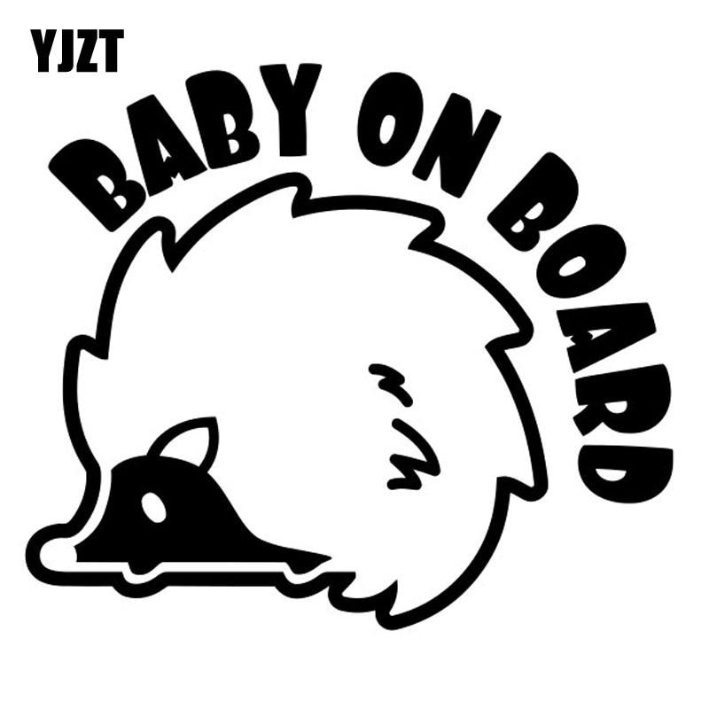 YJZT 12.7cm*10.8cmBaby On Board An Interesting Hedgehog Vinyl Car Sticker  Black /Silver C10-00014