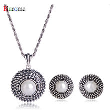 Fashion Style Round Simulated Pearls Pendant Necklace Earrings Jewelry Set Office Women Lady Party Banquet Accessories(China)