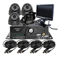 "Free Shipping 7"" LCD Car Monitor 4 Channel Video Recorder SD 720P AHD Car Mobile DVR CCTV System + AHD Camera For Bus Truck Van"