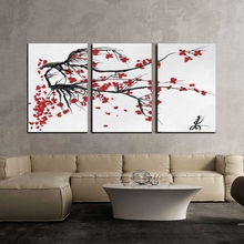 HD Print Chinese Ink Painting Style Landscape Mountain and Plum Blossom Sakura Cherry Tree Summer Time Vintage Cultural Artwork