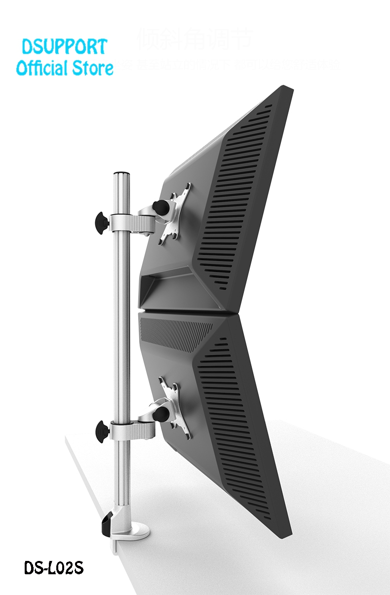 Liga De Alumínio 14-24 de polegada Dual Monitor de Desktop Titular Suporte Completo o movimento para CIMA e Para Baixo LED Display LCD Monitor de Suporte de Montagem L02S