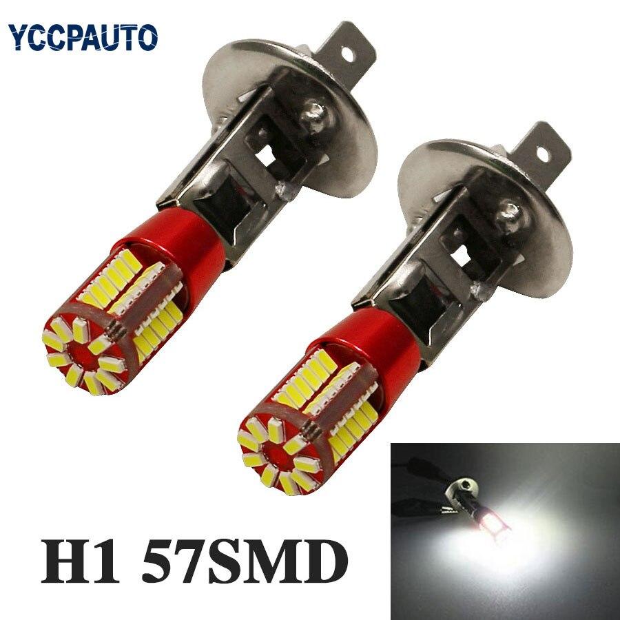 YCCPAUTO 2 шт. H1 светодиодный противотуманный фонарь 3014 57 SMD дневные ходовые огни дневного светильник лампочка Автомобильная Противо-Туманная светильник s белый 12V
