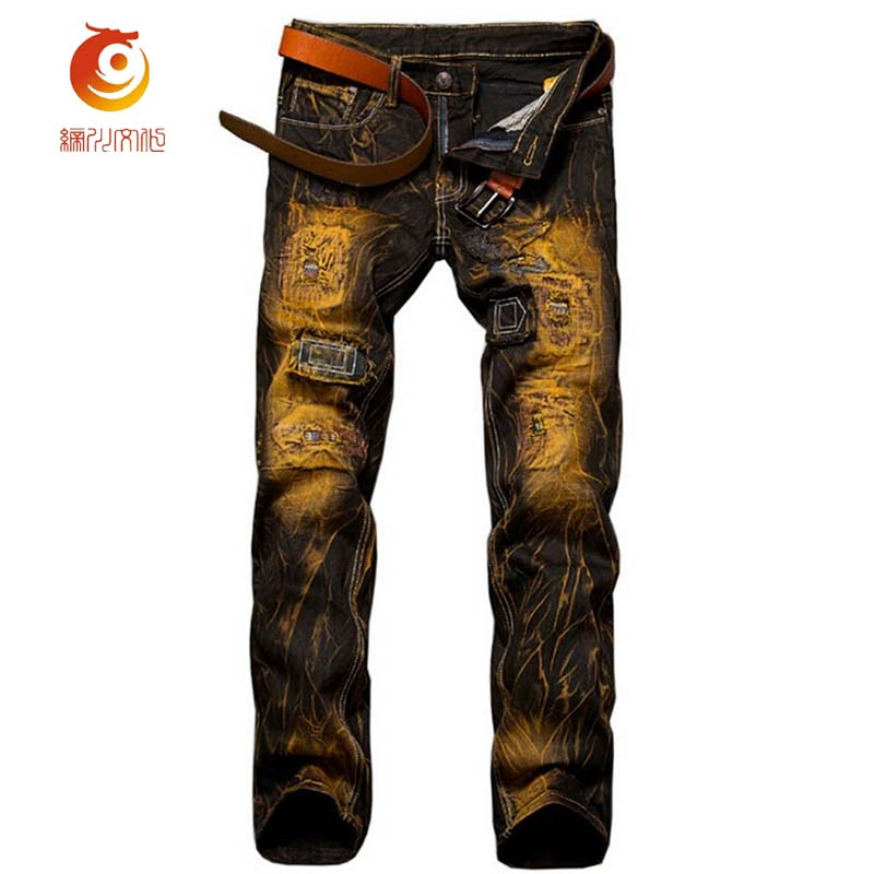 2017 Euramerican Nostalgic Color Motorcycle Men Jeans Fashion Personality Jeans Casual Mid Waist Large Size Holes Men Jeans
