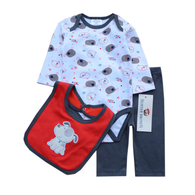 3Pcs/lot  Baby Bodysuit+Pant+Bibs Body Clothing For Babies Ropa Bebes Newborn Baby Girls Boys Clothes Overalls