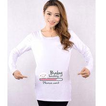 Cotton Clothes For Pregnant Women Cartoon Baby Peeking Out Long-sleeve Maternity Shirt Women Plus Size XXL Christmas Gift O-neck