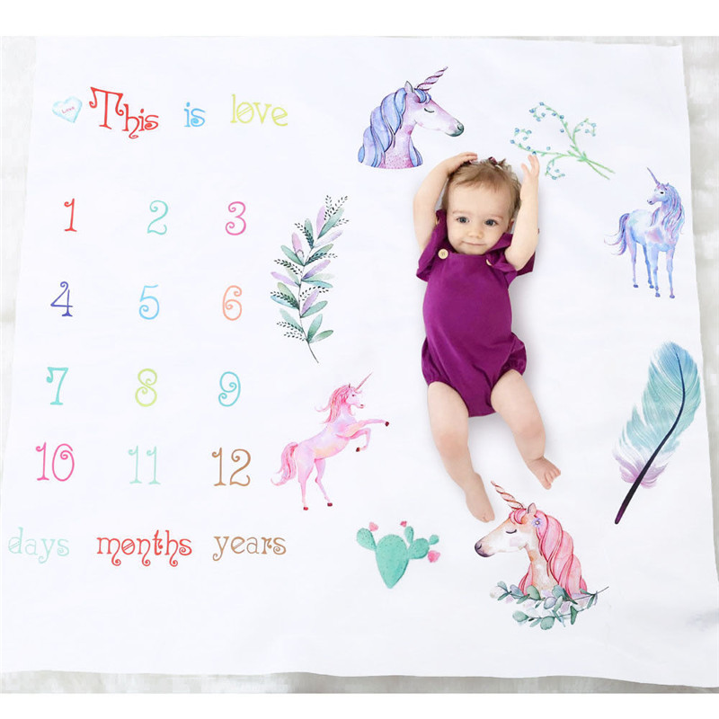 Baby blankets Newborn Baby CARTOON Number Unicorn Milestone Blanket for Photography Photo Prop Shoot