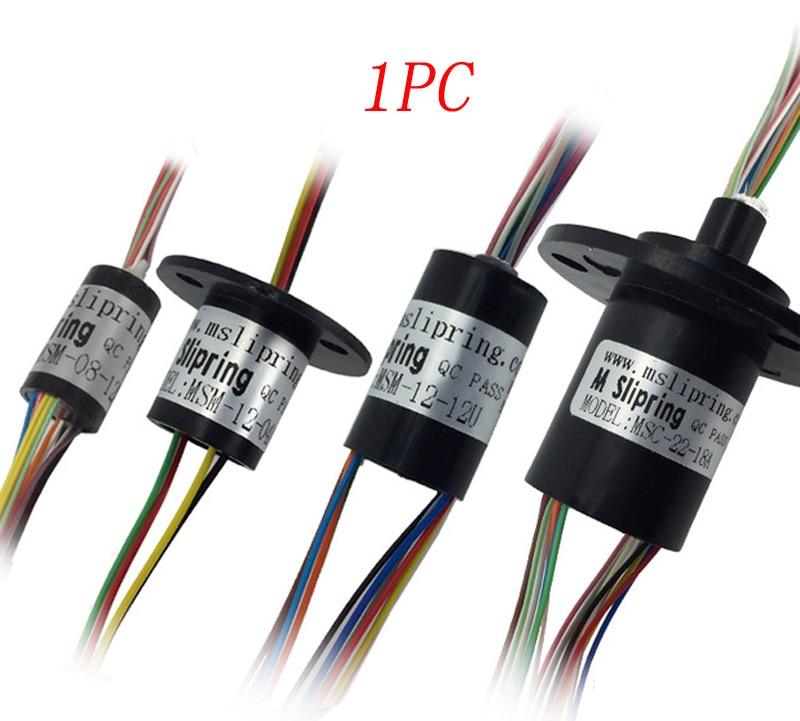 1PC 2/4/6/8/12/18/24/36 canaux fils bague collectrice 1-2A Slipring 8.5/12.5/15.5/22mm Mini connecteurs de connecteurs rotatifs