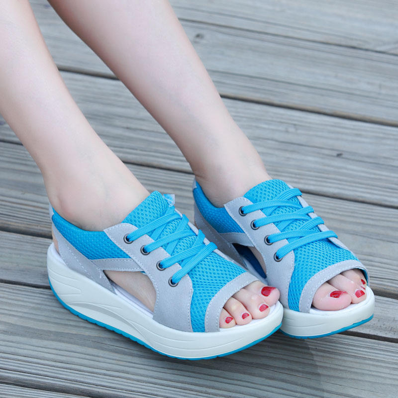 Women Sandals Open Toe Platform Sandals Wedges Shoes For Women Heels Sandals Summer Shoes Women Casual Lace Up Ladies Sandalas nemaone new 2017 women sandals summer style shoes woman platform sandals women casual open toe wedges sandals women shoes