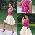 Fuchsia Short Homecoming Dresses 2017 Vestidos de 15 cortos Lace Applique Cute 8th Grade Graduation Dresses Cocktail Party Gowns