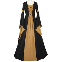 Custom Made Women's Black&Yellow Dress Gothic Medieval Victorian Long Trumpet Sleeve Dress for Ball Gown