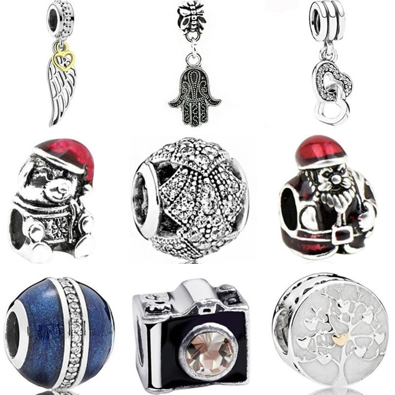 Enamel Hamsa Hand Wings Snowflake Flowers Crystal Beads Charms Fit Original Pandora Bracelets for Women Birthday Jewelry Bijoux(China)