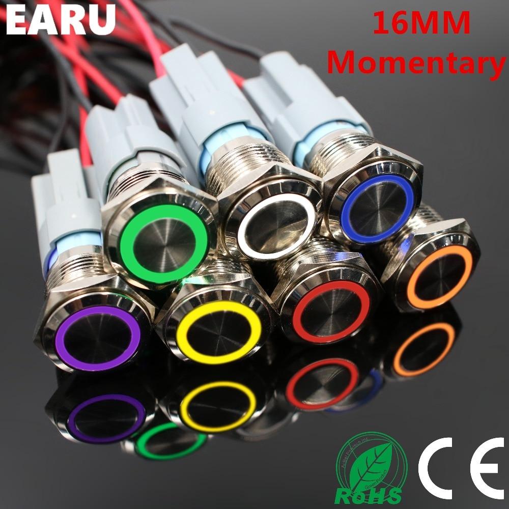 16mm Waterproof Metal Push Button Switch LED Light Illuminated Momentary Reset Car Engine PC Power Start 5V 12V 3-380V Red Blue