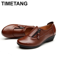 TIMETANG Spring Fashion Leather Women Shoes Mother Slope Soft Bottom Anti Slip Comfortable Middle Aged Casual