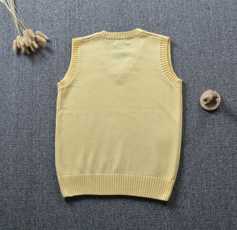 Japanese Student Style Light Yellow Sleeveless V Neck Sweater Vest ...