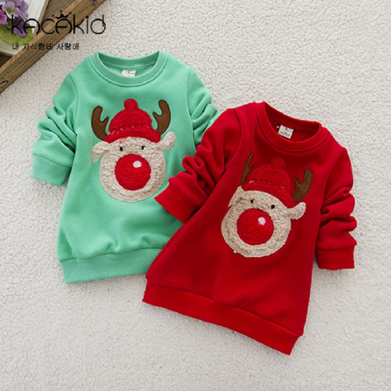 Kacakid children warm sweatshirts boys girls thicken velvet cartoon hoodies shirt kids cute elk soft coat christam gift