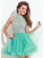 Robe de soriee Mint Grün Blau Peach Puffy Short Prom Dresses Kristall Heimkehr/Cocktailkleid Bling Mädchen Partei Kleid 2017