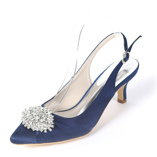 f71de96c5df Creativesugar pointed toe sling slingback satin evening dress shoes pleated  know crystal brooch bridal wedding prom lower heels