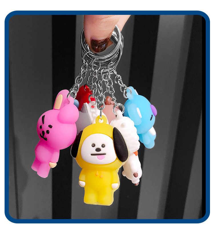 Boneca dos desenhos animados saco de fecho de chave do carro pingente de casal chaveiro presente criativo Anel Chave da moda para meninos e meninas