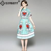 Simgent Green Elegant Dress New Summer Vintage Turn Down Collar Heart Printing Knee Length Ruch Dress Woman Cloth Vestido SG8742