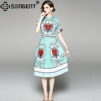 Simgent Green Elegant Dress New Summer Vintage Turn Down Collar Heart Printing Knee Length Ruch Dress Woman Cloth Vestido SG8742