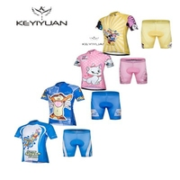 KEYIYUAN Summer Children Cycling Jersey Padded Shorts Bike Clothing Road Bicycle Sportswear Bike Jersey Set