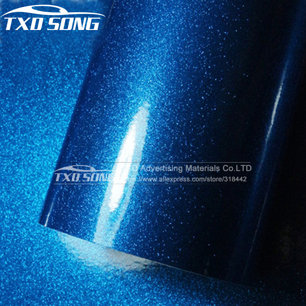 12/30/50/60X100CM/LOT FOR CHOICE Premium Blue High glossy diamond vinyl wrap film with air free bubbles by free shipping-in Car Stickers from Automobiles & Motorcycles