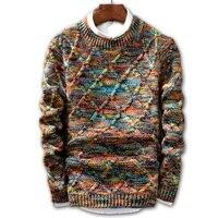 Свитер Для мужчин 2019 бренд модный свитер, пуловер Мужской О-образным вырезом в полоску Slim Fit Вязание Для мужчин свитера мужской пуловер Для М...