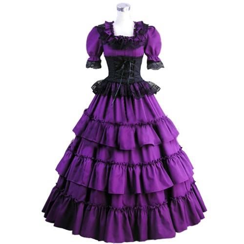 Wonder Woman Victorian Vintage Long Lolita Dress Ladies -6589