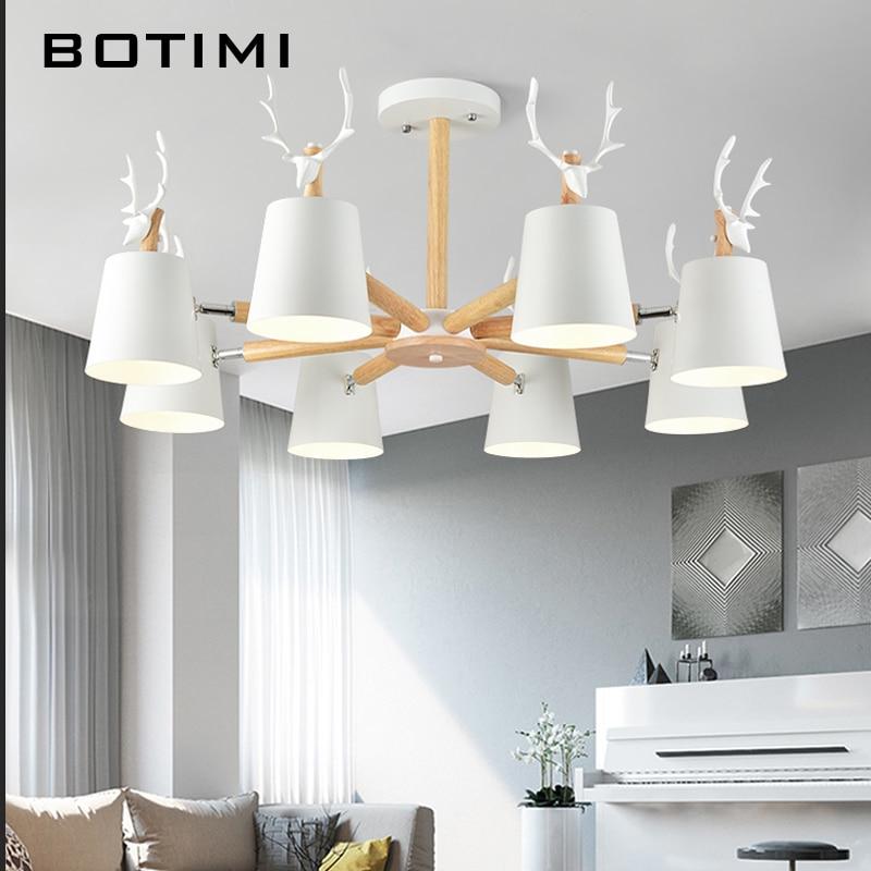 BOTIMI Moderne LED Kronleuchter Beleuchtung Für Wohnzimmer Schwarz  Kronleuchter Holz Lüster Holz Esszimmer Lampe Weiß Küche Lichter