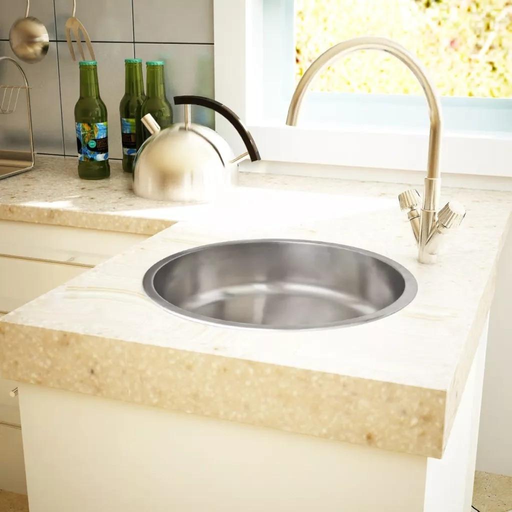 VidaXL Extra-Deep Round Kitchen Sink Stainless Steel Vegetable Dish Washing Basin With Drain Hose