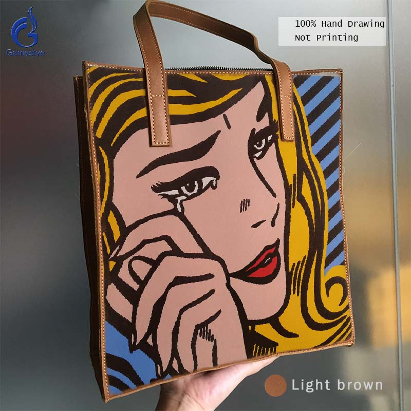 цена на Genuine Leather Women Handbag Art Hand Drawing Oil Painted Printing POP Cry girl Grain Cowhide Leather Bag Handbags Totes Gifts