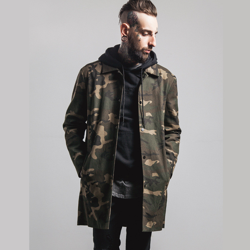 New Fashion Mens Military Style Long Sleeve Hiphop Streetwear Swag Camo Appliques Designed Mens