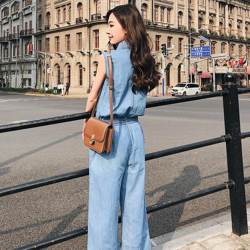 Nouvelles light Femmes Sans Manches Denim Salopette Mince Lâche Jambe Blue Blue 2018 Femelle Large Deep Mode Bleu Confortable Occasionnel Body Rugod Doux BRqE5wSx